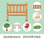 bench and garden icon set on... | Shutterstock .eps vector #2014591463