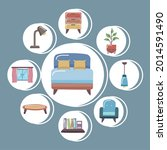 comfortable bed and home icon... | Shutterstock .eps vector #2014591490