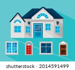 house with windows and doors... | Shutterstock .eps vector #2014591499