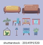 comfortable couches and home... | Shutterstock .eps vector #2014591520