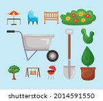 wheelbarrow and garden icon set ... | Shutterstock .eps vector #2014591550