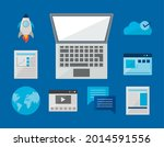laptop with digital icon set on ... | Shutterstock .eps vector #2014591556