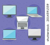 computers and laptops icon set... | Shutterstock .eps vector #2014591559