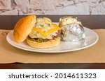 beef burger with cheddar cheese ...
