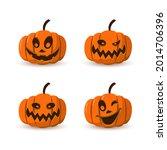 halloween pumpkin icon 3d set.... | Shutterstock .eps vector #2014706396