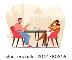 young couple visiting cafe and... | Shutterstock .eps vector #2014780316