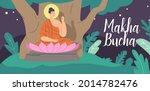 makha bucha greeting card....   Shutterstock .eps vector #2014782476