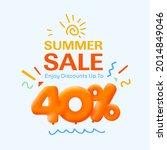 special summer sale banner 40 ... | Shutterstock .eps vector #2014849046