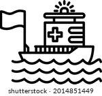 rescue boat vector line icon...   Shutterstock .eps vector #2014851449