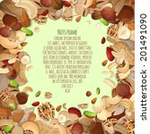 Nuts and seeds mix food decorative card frame vector illustration
