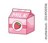 small strawberry milk carton...   Shutterstock .eps vector #2014920536