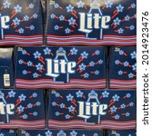 Small photo of Orlando, FL USA - July 16, 2021: Cases of cans of Miller Lite Beer at a grocery store waiting for customers to purchase. Miller Lite is a product of American Miller Brewing Company.