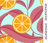 mandarin half with leaf branch...   Shutterstock .eps vector #2014925930