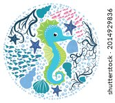seahorse  scandinavian style... | Shutterstock .eps vector #2014929836