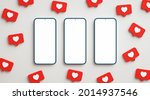 three blank screen phone mock...