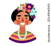 happy woman with flower in hair ... | Shutterstock .eps vector #2014946543
