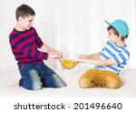 two young boys in bed and... | Shutterstock . vector #201496640