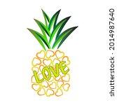 pineapple heart love vector...   Shutterstock .eps vector #2014987640