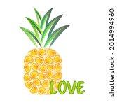 love pineapple fruit vitamins...   Shutterstock .eps vector #2014994960