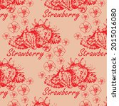 strawberry vector seamless...   Shutterstock .eps vector #2015016080