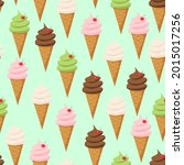 summer seamless pattern ice...   Shutterstock .eps vector #2015017256