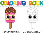 coloring page funny smiling ice ... | Shutterstock .eps vector #2015028869