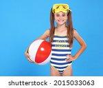 Smiling Joyful Girl In Striped...