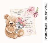 cute bear doll holding bouquet... | Shutterstock .eps vector #2015049953