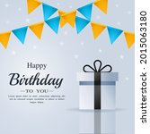 happy birthday card with gift... | Shutterstock .eps vector #2015063180