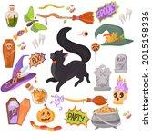black kitten. candy  costumes ... | Shutterstock .eps vector #2015198336