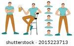 funny guy. the guy is standing  ... | Shutterstock .eps vector #2015223713
