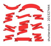 vector set of retro red ribbons ... | Shutterstock .eps vector #201527444