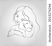 girl and puppy. vector... | Shutterstock .eps vector #2015276246