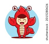 kid wearing lobster costume ... | Shutterstock .eps vector #2015280626