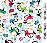 penguins with snowflake and... | Shutterstock .eps vector #2015300360