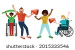 different people on protest ...   Shutterstock .eps vector #2015333546