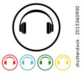 headphone flat icon with color...   Shutterstock .eps vector #2015360900