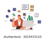 woman working with big data and ...   Shutterstock .eps vector #2015415110
