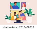 flat illustration of video call ... | Shutterstock .eps vector #2015430713