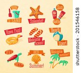 set of cute bright summer icons ... | Shutterstock .eps vector #201546158