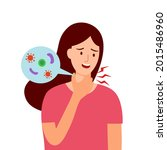 young woman having sore throat... | Shutterstock .eps vector #2015486960