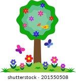 flower  bird  butterfly tree   Shutterstock .eps vector #201550508