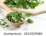 Cut Fresh Green Cilantro And...