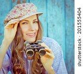 romantic traveler holding retro ... | Shutterstock . vector #201555404