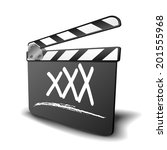 detailed illustration of a clapper board with XXX term, symbol for film and video genre, eps10 vector