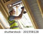 construction worker using drill ... | Shutterstock . vector #201558128