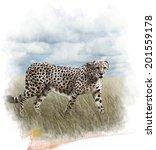 Watercolor Digital Painting Of...