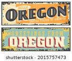 oregon usa retro sign on old... | Shutterstock .eps vector #2015757473