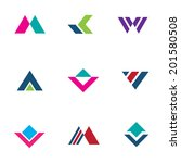 Triangle pyramid foundation company simple powerful logo brand creation icon set
