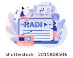 radio on air on laptop. tiny... | Shutterstock .eps vector #2015808506